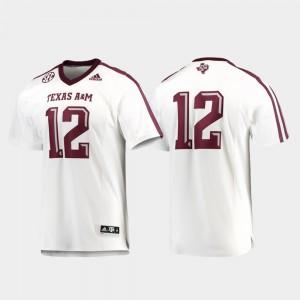 For Men's Texas A&M University #12 White Premier Football Jersey 330277-948