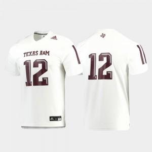 For Men's Texas A&M University #12 White Replica Football Jersey 982687-724
