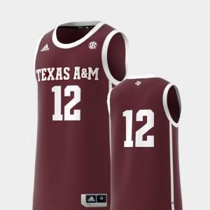 Mens A&M #12 Maroon Basketball Swingman College Replica Jersey 725924-589