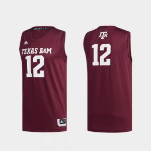For Men's Texas A&M Aggies #12 Maroon Basketball Swingman Swingman Basketball Jersey 733112-812