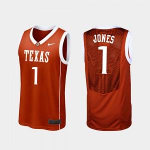 Mens Longhorns #1 Andrew Jones Burnt Orange Replica College Basketball Jersey 220912-494