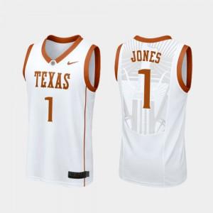 Men Longhorns #1 Andrew Jones White Replica College Basketball Jersey 631494-226