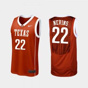 Mens University of Texas #22 Blake Nevins Burnt Orange Replica College Basketball Jersey 933257-849