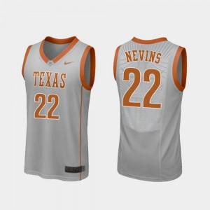 For Men's University of Texas #22 Blake Nevins Gray Replica College Basketball Jersey 438106-660