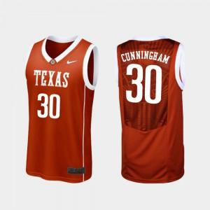 Men Longhorns #30 Brock Cunningham Burnt Orange Replica College Basketball Jersey 596154-586
