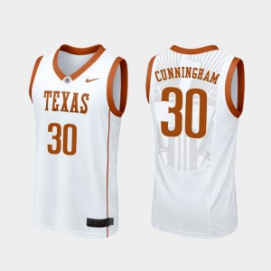 Mens UT #30 Brock Cunningham White Replica College Basketball Jersey 369437-546