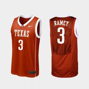 Mens UT #3 Courtney Ramey Burnt Orange Replica College Basketball Jersey 670679-946