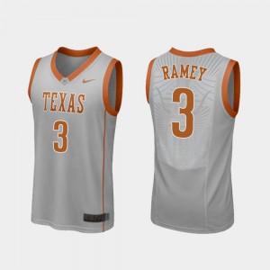 Men's University of Texas #3 Courtney Ramey Gray Replica College Basketball Jersey 309618-922