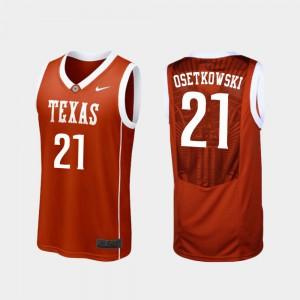 Men Longhorns #21 Dylan Osetkowski Burnt Orange Replica College Basketball Jersey 615532-661