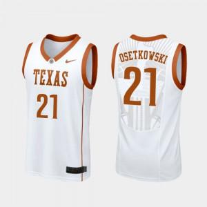 Men University of Texas #21 Dylan Osetkowski White Replica College Basketball Jersey 549979-792