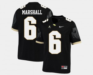 Mens UCF #6 Brandon Marshall Black College Football American Athletic Conference Jersey 602616-595