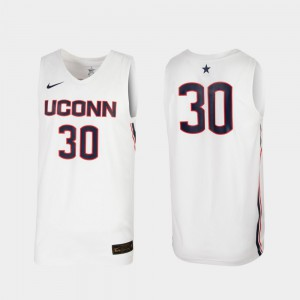 Mens UConn #30 White Replica College Basketball Jersey 116474-581