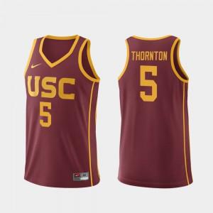 Mens Trojans #5 Derryck Thornton Cardinal Replica College Basketball Jersey 895522-987