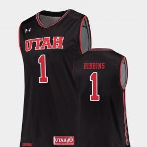 Mens Utes #1 Justin Bibbins Black Replica College Basketball Jersey 186879-626
