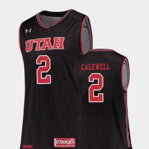 Mens Utes #2 Kolbe Caldwell Black Replica College Basketball Jersey 955417-819