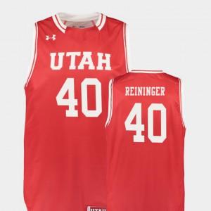 Men's Utah Utes #40 Marc Reininger Red Replica College Basketball Jersey 729588-864