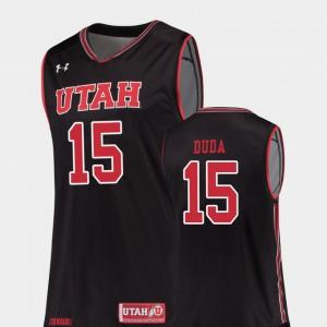 Men's Utes #15 Nate Duda Black Replica College Basketball Jersey 782176-134