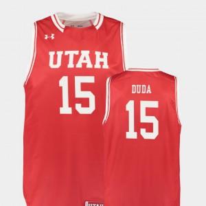 Mens Utes #15 Nate Duda Red Replica College Basketball Jersey 675364-914