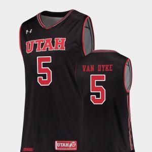 For Men's Utes #5 Parker Van Dyke Black Replica College Basketball Jersey 272357-786