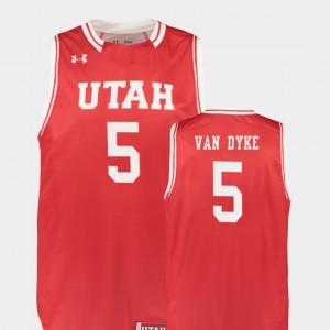 For Men Utah Utes #5 Parker Van Dyke Red Replica College Basketball Jersey 376824-915