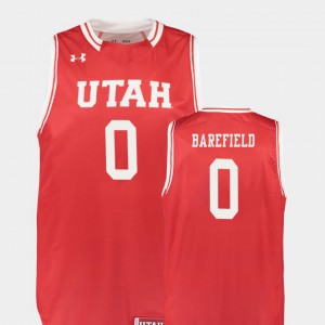 Men's Utes #0 Sedrick Barefield Red Replica College Basketball Jersey 250882-686
