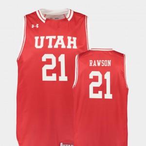 Men's Utes #21 Tyler Rawson Red Replica College Basketball Jersey 408675-305