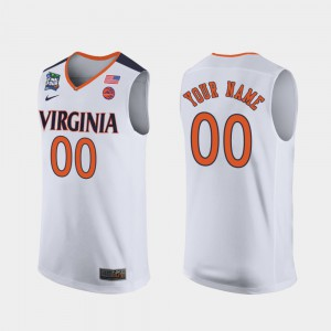 Men's UVA #00 White 2019 Final-Four Customized Jerseys 938684-250