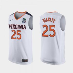 For Men UVA Cavaliers #25 Mamadi Diakite White 2019 Final-Four Replica Jersey 431081-878