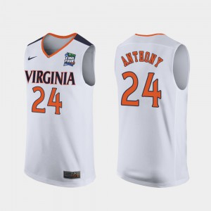 For Men University of Virginia #24 Marco Anthony White 2019 Final-Four Replica Jersey 137559-968