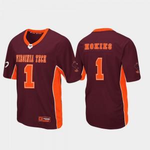 For Men's Hokie #1 Maroon Max Power Football Jersey 329476-266