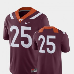 For Men's VT #25 Maroon College Football 2018 Game Jersey 462069-671