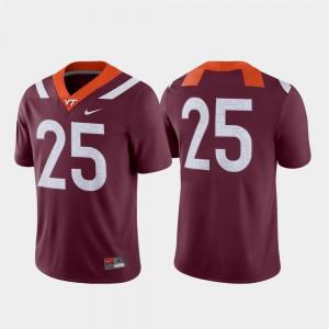 Men Virginia Tech Hokies #25 Maroon Game College Football Jersey 518783-897