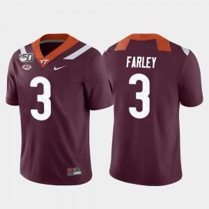 Men VA Tech #3 Caleb Farley Maroon Game College Football Jersey 135780-409