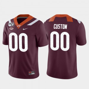 For Men's VT #00 Maroon Game College Football Custom Jerseys 585727-412