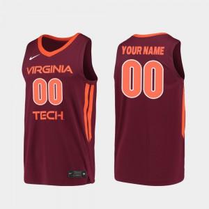 Mens VA Tech #00 Maroon Replica 2019-20 College Basketball Custom Jerseys 399962-192
