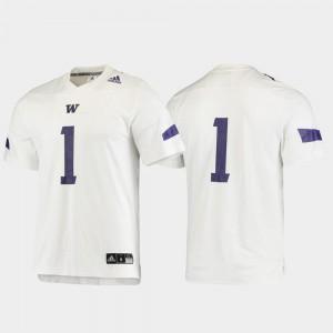 Men's University of Washington #1 White Replica Football Jersey 416199-389