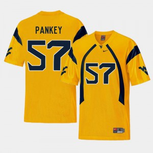 Mens Mountaineers #57 Adam Pankey Gold College Football Replica Jersey 313684-647