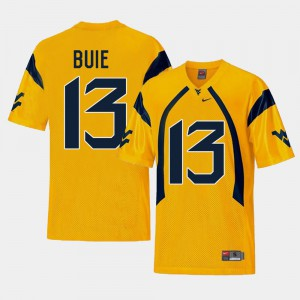 Mens West Virginia Mountaineers #13 Andrew Buie Gold College Football Replica Jersey 399817-281