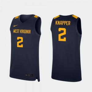 Men's West Virginia Mountaineers #2 Brandon Knapper Navy Replica College Basketball Jersey 626204-883