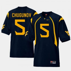 For Men's West Virginia Mountaineers #5 Chris Chugunov Navy College Football Replica Jersey 759717-411