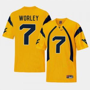 Men's West Virginia Mountaineers #7 Daryl Worley Gold College Football Replica Jersey 218783-452