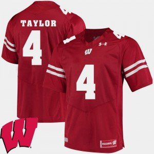 For Men's Wisconsin Badger #4 A.J. Taylor Red Alumni Football Game 2018 NCAA Jersey 180161-571
