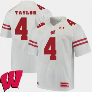For Men Wisconsin #4 A.J. Taylor White Alumni Football Game 2018 NCAA Jersey 399043-447