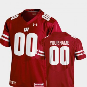For Men's Badgers #00 Red College Football 2018 TC Custom Jersey 526218-699