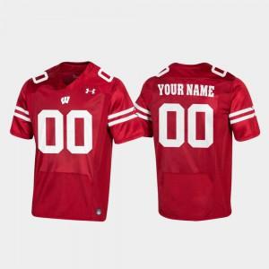 For Men Wisconsin Badger #00 Red Replica Football Custom Jerseys 866844-663