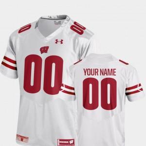 Men Wisconsin Badgers #00 White College Football 2018 Replica Custom Jerseys 215020-931