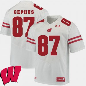 For Men's Badger #87 Quintez Cephus White Alumni Football Game 2018 NCAA Jersey 813179-451