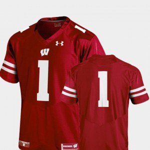 For Men's Badgers #1 Red College Football Team Replica Jersey 500054-555