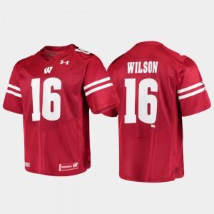 Mens University of Wisconsin #16 Russell Wilson Red Alumni Football Game Replica Jersey 995521-619