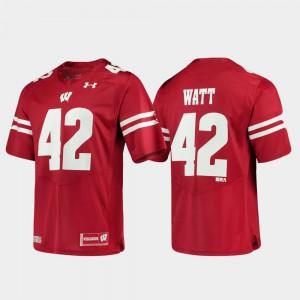For Men's Wisconsin #42 T.J. Watt Red Alumni Football Game Replica Jersey 340050-708